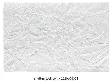 Isolated crumpled sheet paper in gentle light white, grey color, texture for creative work.