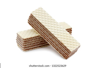 Isolated crunchy, chocolate nutty wafers on a white background. Food for sweet tooth