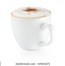 isolated cup of cappuccino with foam