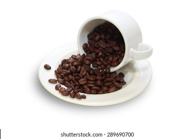 isolated cup of coffee with coffee beans