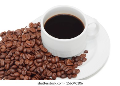 isolated cup of coffee with coffee beans in the background