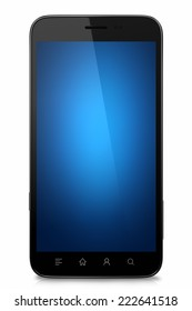 Isolated custom smart phone with blue blank screen