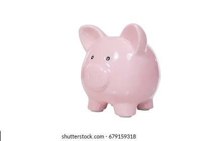 Isolated cute pink piggy bank with copy space for financial or savings themed concepts