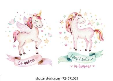 Isolated cute watercolor unicorn clipart. Nursery unicorns illustration. Princess unicorns poster. Trendy pink cartoon horse.