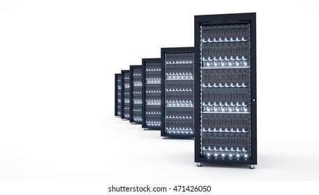Isolated datacenter. Cloud computing. Blade server and storage. 3d rendering