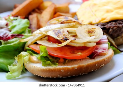 isolated delicious american burger in white plate