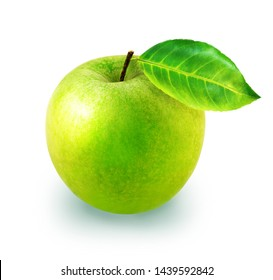 Isolated delicious Apple photographed close-up on white background with clipping path