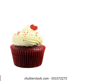 Isolated delicious cupcake for Valentine Day on white background and clipping path