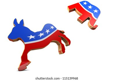 Isolated Democrat Symbol Kicks Republican Symbol