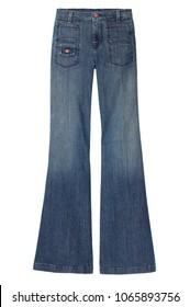 isolated denim bell bottom jeans