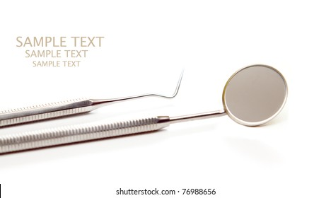 isolated dentist accesories, mirror