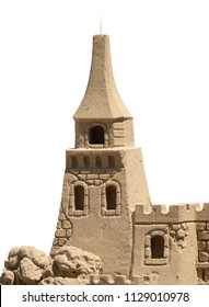 Isolated Detail Of A Sand Castle With A White Background