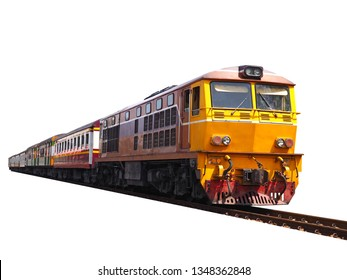 isolated of diesel electric locomotives train with railroad on white  background  vintage public transport for