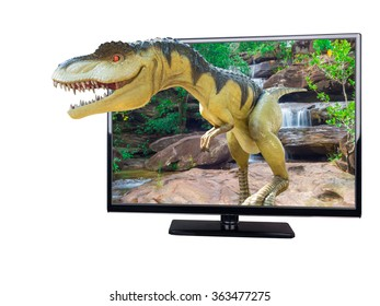 Isolated Dinosaurs model emerge out from LED TV