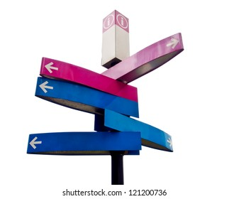 isolated directional signs on white background