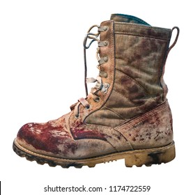 Isolated Dirty And Bloody Military Desert Boot