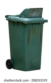 isolated dirty old green bin with wheel