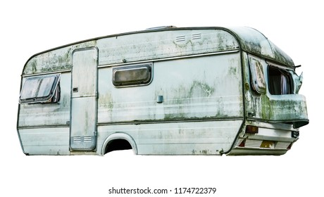 Isolated Disgusting Old Dirty White Caravan With Missing Wheels On A White Background