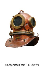 An isolated diver's copper helmet on a white background