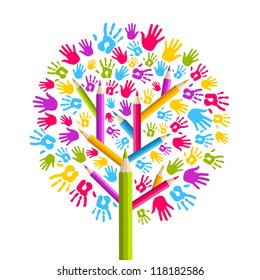 Isolated diversity education concept tree hands illustration.