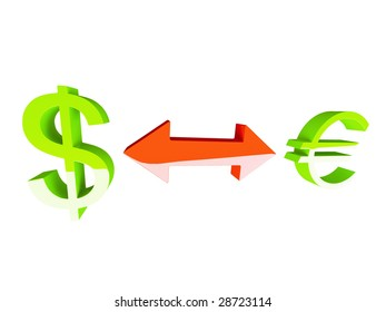 Isolated Double Arrow with Euro and Dollar Signs!