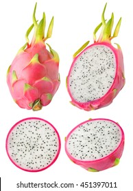 Isolated dragonfruit. Collection of whole and cut dragon fruits isolated on white background with clipping path