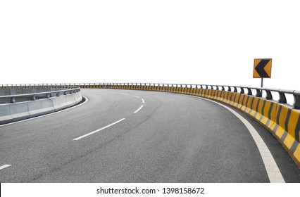 Isolated dramatic curve elevated highway against white background.
