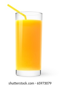 Isolated drink. Glass of orange juice with straw isolated on white background