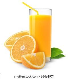 Isolated drink. Glass of orange juice and slices of orange fruit isolated on white background