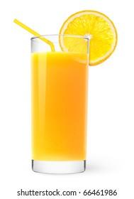 Isolated drink. Glass of orange juice with slice of orange fruit and straw isolated on white background