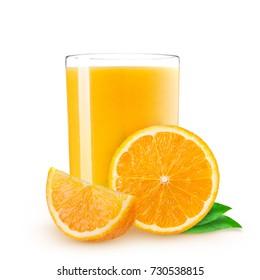 Isolated drink. Glass of orange juice and slices of orange fruit isolated on white background.