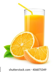 Isolated drink. Slices of orange fruit and glass of juice isolated on white with clipping path
