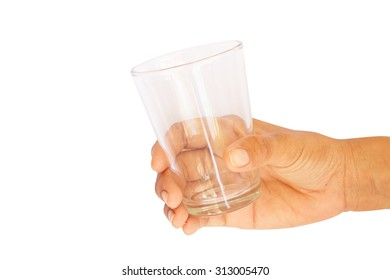 Isolated drinking glass in hand.