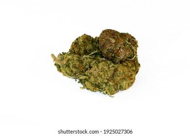 Isolated, dry medicine marijuana cbd weed buds