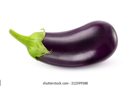 Isolated eggplant. One fresh eggplant over white background, with clipping path