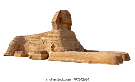 Isolated Egypt Sphinx on a white background.