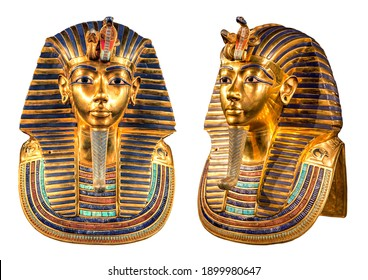 Isolated egyptian pharaoh Tutankhamun's funeral mask on white background