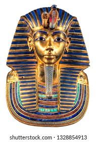 Isolated egyptian Tutankhamun's burial mask