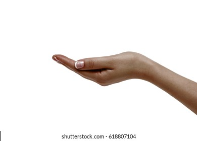 Isolated empty african female hand on white background.