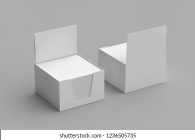 Isolated Empty Cube Block Note