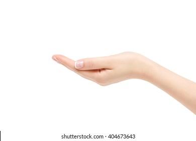 Isolated empty female hand on white background.