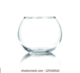 isolated Empty fishbowl without water in front of white background.