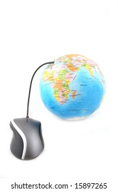 Isolated ergonomic mouse and a globe shot over white background