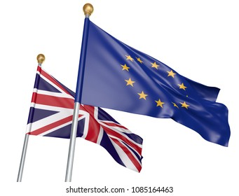 Isolated European Union and United Kingdom flags flying together for diplomatic talks and trade relations, 3D rendering