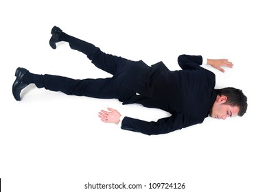 Isolated exhausted business man on white
