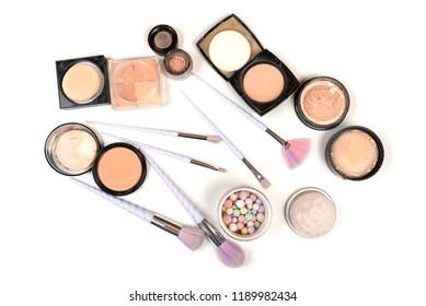 isolated eye brush kit with blushes on white background