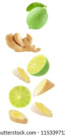 Isolated falling fruit. Flying lime and ginger isolated on white background with clipping path as package design element and advertising.