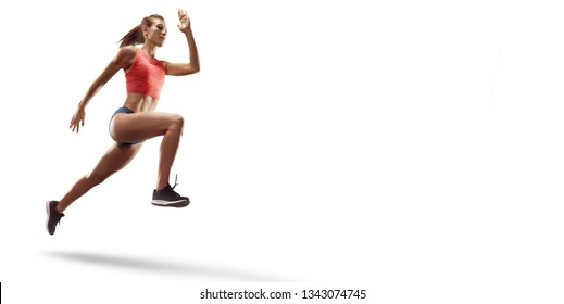 Isolated Female athletes sprinting. Women on white background in sport clothes run