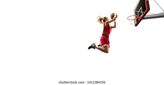 Isolated Female basketball player makes slam dunk. Basketball players on white background