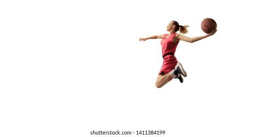 Isolated Female basketball player makes slam dunk. Basketball players on white background